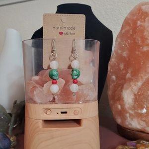 Handmade Mexican skull whute agate beaded earrings